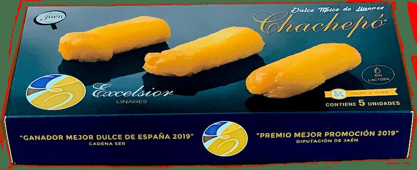 - Nuestro Chachepó, dulce típico de Linares, se presenta en un elegante estuche, de cinco unidades, termosellado que los protege de toda fuga y les permite durar tres semanas, en frío, tan ricos como el primer día.